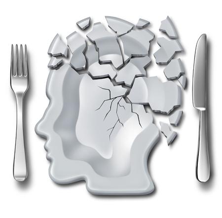 Migraine hoofdpijn en uitbranding medisch en geestelijk gezondheids concept of emotionele afbraak symbool als een plaats instelling met een gebroken plaat als psychologisch pictogram als een 3D-illustratie.