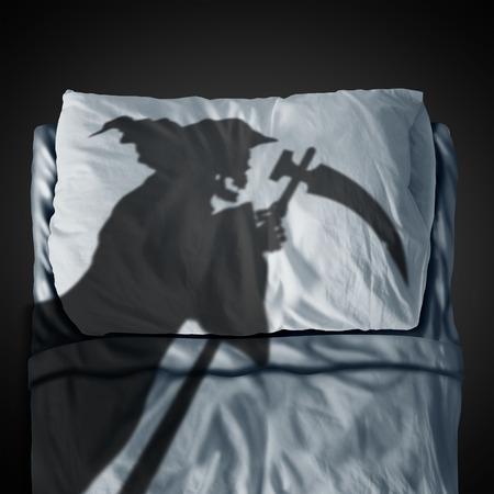 Le sondage et le concept de la peur de la mortalité comme un fantôme attrayant qui coule une ombre sur un oreiller et un matelas de sommeil comme symbole médical et de mortalité de la santé dans un style d'illustration 3D. Banque d'images - 76853438