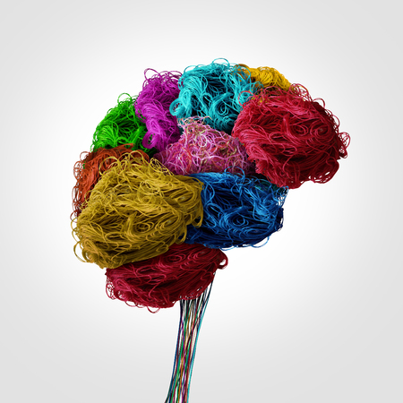 Tangled human brain concept as a thinking organ made of sewing thread and textile threads as a psychology or personality symbol for neurology or fashionclothing industry in a 3D illustration style. Stock Photo