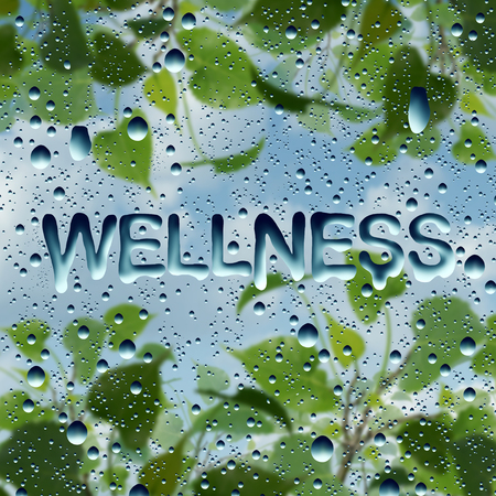 Wellness health symbol and natural healthy lifestyle symbol as water drops on a window with text and a plant with sky as a harmony and relaxation metaphor in a 3D illustration style. Фото со стока