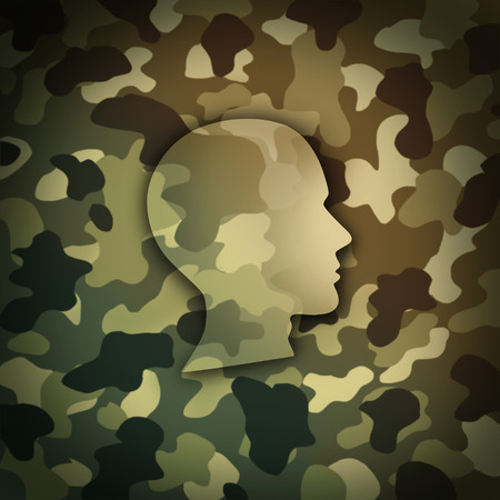 Military soldier concept as battlefield camouflage shaped as the head of a brave veteran as a metaphor for national defense warrior in a 3D illustration style. Фото со стока