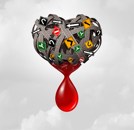 drunk driving: Road injury and traffic accident concept as a group of roads and street signs shaped as a heart with blood bleeding from the transportation symbol as a highway safety icon as a 3D illustration.