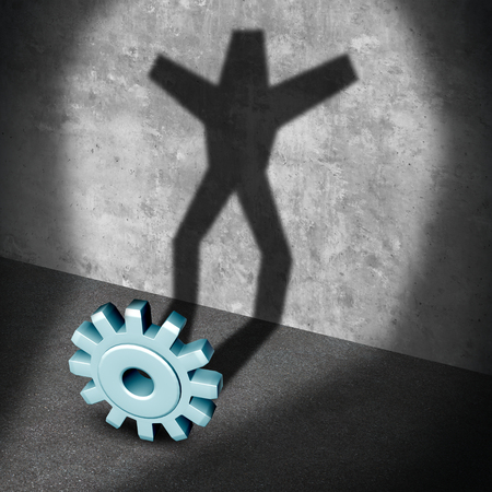 career up: Industry career success metaphor as a gear or business cog casting a shadow shaped as a successful person with arms raided up in celebration as a 3D illustration.