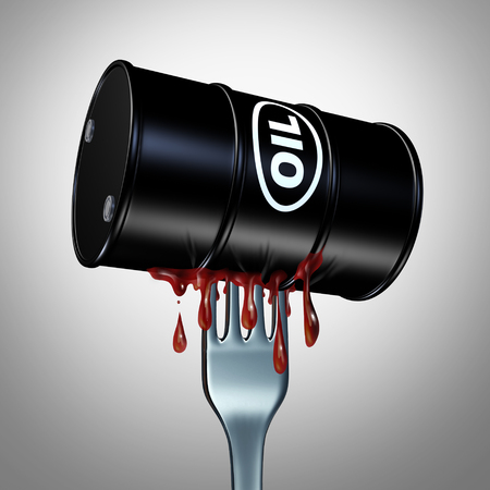 Appetite for oil fuel and demand for petroleum products as a fork inside a barrel of petrochemical or crude as a 3D illustration. Stock Photo