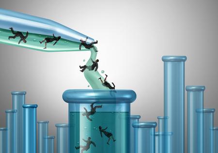 Human lab testing en klinische studies en proeven concept als een wetenschappelijke dropper pouring mensen in een beker als een medisch en medicijn drug test in een laboratorium met 3D illustratie elementen.