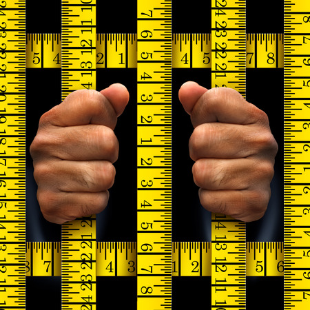 food: Dieting prisoner or prison food concept and as a fitness and weight loss metaphor for losing fat and being trapped by diets that force you to watch your body size or anorexia eating disorder with 3D illustration elements.