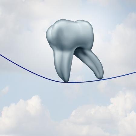3 D イラストレーションと歯科医や歯科口腔 hygeiene コンセプトとして高ワイヤーで歩くヒトの歯として flossing の歯とデンタルフロスを使用します。