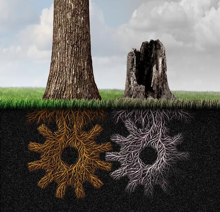 Wirtschaftskrise und Geschäftspartnerschaft Tod als Industrie- und Wirtschaftssymbol für eine rückläufige Arbeitsbeziehung als Stanzbaum und Wurzeln als Getriebe mit 3D-Darstellungselementen geformt. Standard-Bild