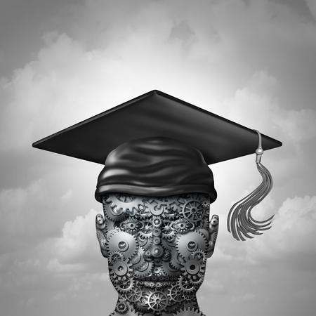 Aprendizaje de la máquina y el desarrollo de la base de datos sociales de la comunicación como un grupo de vasos en forma de corazón como una ciencia humana o la ciencia del ordenador portátil con una gorra de graduación como una ilustración 3d . Foto de archivo - 77773717