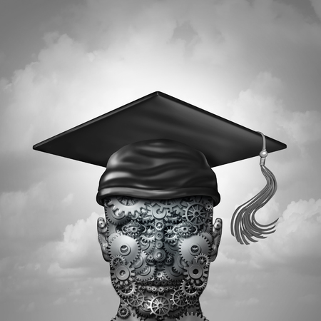 Machine learning and artificial intelligence data programming development as a group of gears shaped as a human engineering or computer science student with a graduation cap as a 3D illustration. Stock Photo