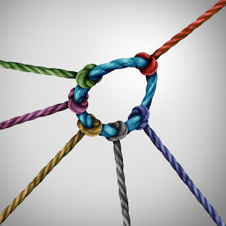 initiator: Leadership pull concept and guiding a team as a leader directing the direction of a diverse group of rope symbols tied to a circle as a business metaphor for strong guidance. Stock Photo