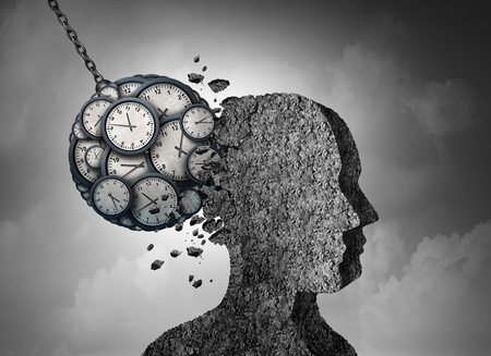 Time and stress and business pressure concept as a group of clock objects destroying cement shaped as a human head as a work fatigue and exhaustion metaphor with 3D illustration elements. 写真素材