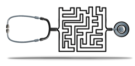 solution: Solving healthcare and health care reform challenges as a doctor stethoscope shaped as a complicated maze as a medical and medicine insurance confusion or prescription medication crisis metaphor as a 3D illustration.