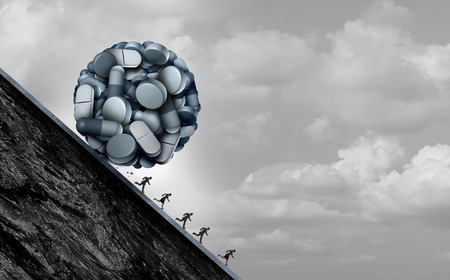 Opioid crisis and prescription painkiller addiction epidemic concept as a group of people running away from dangerous pills as a medical addict problem with 3D illustration elements. Stockfoto