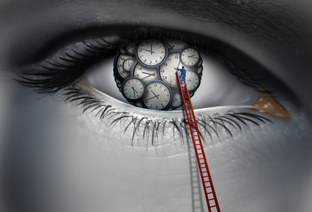 aged: Internal clock and circadian rythm time concept as a human eye with time pieces with a person adjusting and organizing a thinking work schedule with 3D illustration elements. Stock Photo