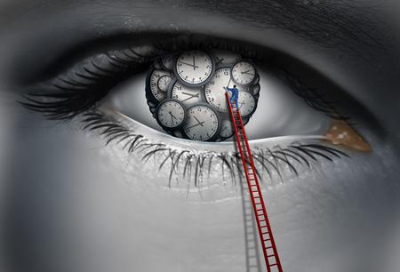 L'horloge interne et le concept de temps de rythme circadien comme ?il humain avec des morceaux de temps avec une personne ajustant et organisant un programme de travail pensant avec des éléments d'illustration 3D. Banque d'images - 77826382
