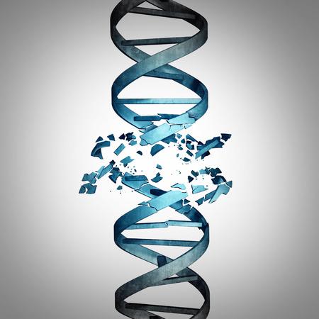 Dañado el ADN y la biotecnología mutación genética concepto como una hélice doble hilo con daños como un símbolo médico para el genoma o cromosoma problema como una ilustración 3D.