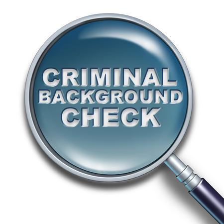 private security: Security criminal background concept and employment screening of potential candidates to verify with a police analysis any hidden history of crime as a magnifying glass with text as a 3D illustration. Stock Photo