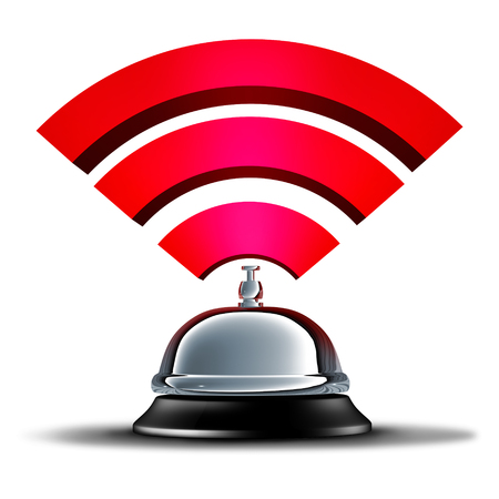 Wifi service or wi fi wireless communication and mobile broadband connection services as an internet wi-fi technology services symbol with a hospitality help bell as a 3D illustration.