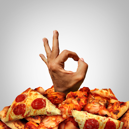 Delicious pizza concept with a happy hand expressing joy and approval coming out of a heap of baked dough with melted cheese and pepperoni with garlic sauce as an italian food celebration.