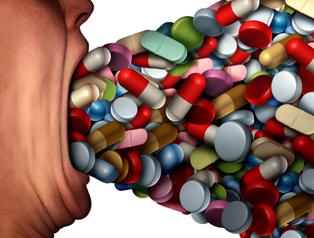 Too many pills health risk symbol and pharmaceutical overdose or overprescribed prescription drugs conceptas a person with a huge open mouth ingesting excessive amounts of medication as a metaphor for medicine with 3D illustration elements.