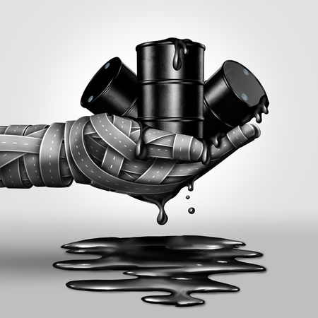 Dirty fuel concept as a crude oil barrel group leaking petroleum into a spill as a group of streets shapes a a human hand as a 3d illustration. Stock Photo