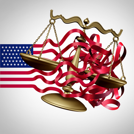 American Legal System Challenge and United States business regulations crisis as a flag with stripes tangled with a justice scale as a government law or Washington  and white house legislation confusion as a 3D illustration. Stock Photo