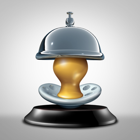 Fertility service concept as a hospitality bell with a pacifier as a reproductive medicine or infertility services as a 3D illustration.