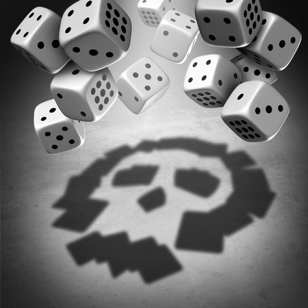 Gambling danger and suicide risk due to debt as betting addiction as the shadow of a group of dice casting a shadow of a death skull as a gaming and wagering concept with 3D illustration elements.