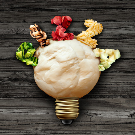 Pizza idea and cooking activity as an italian cuisine concept as a ball of dough shaped as a lightbulb representing a happy creative lifestyle with 3D illustration. Stock Photo