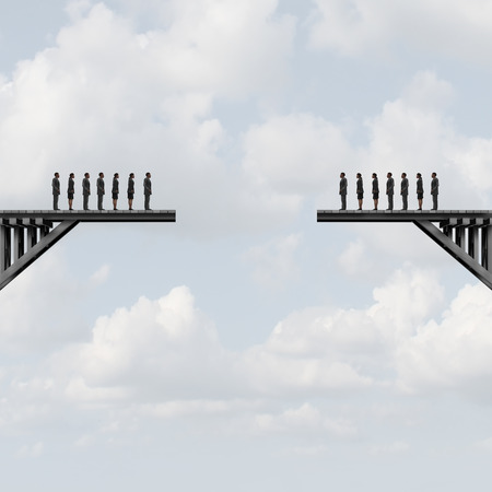 Divided groups concept as two teams of people on a broken bridge as a business metaphor for corporate separation with 3D illustration elements. Stock Photo