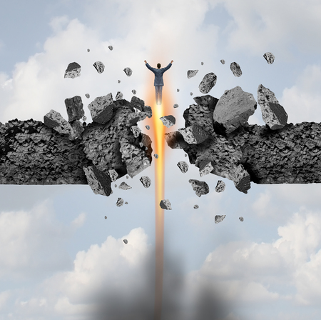 Leadership power and superhero or brave and strong hero businessman breaking through a cement wall as a business or career metaphor in a 3D illustration style.