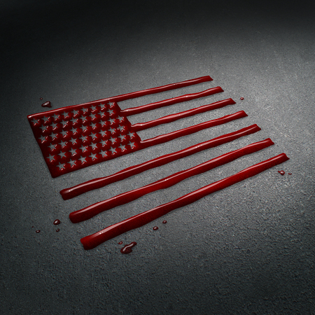 United States tragedy and tragic crime in America concept as the blood of victims on the street after a sad attack shaped as the flag of the USA as a news social issue concept in a 3D illustration style. Stock Photo