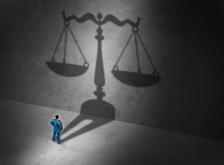 scale of justice: Lawyer concept and attorney symbol or a judge as a person casting a shadow of a justice scale on a wall as a symbol for a legal counselor or barrister and common law or civil law practice with 3D illustration elements.