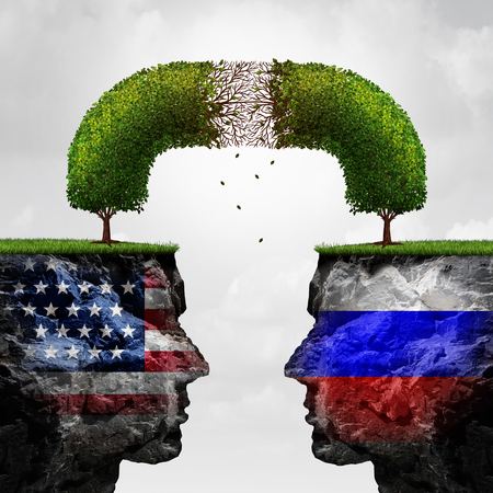 Russia United States relations problem as Russian and American political crisis symbol as a degrading connected tree representing the failing diplomatic and economic relationship between Moscow and Washington with 3D illustration elements Stock Photo