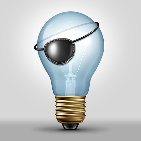 Copyright infringement concept and plagiarism or piracy idea as a lightbulb wearing a pirate eye patch as a symbol for unauthorized use of ideas or creative media as a 3D illustration. Banque d'images