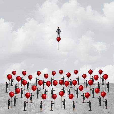 個々 の 3 D 図の要素を持つ個性隠喩として気球に乗って 1 つの巧妙な革新的な実業家とバルーンを保持している地面の peopleon グループとしてビジネ