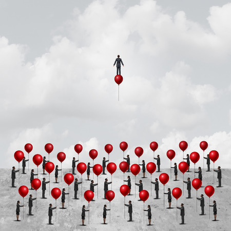Individual thinking business concept as a group of peopleon the ground holding balloons with one clever and innovative businessman riding a balloon as an individuality metaphor with 3D illustration elements. Stock Photo