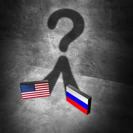 cold war: Russia American news question and Russian United States questions as a current political crisis as two flags casting a shadow representing the uncertain diplomatic and economic relationship with Moscow and Washington as a 3D illustration elements.