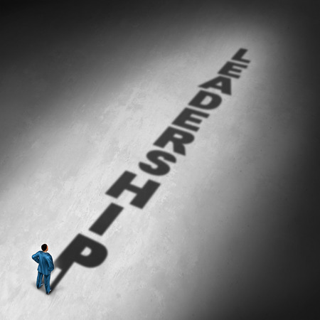 Career leadership concept and management direction symbol as a businessman casting a shadow with the leader related text as a success metaphor for corporate entrepreneurial vision with 3D illustration elements.