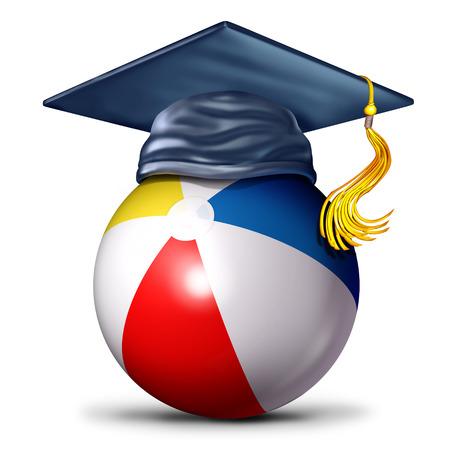 3D 그림으로 여름 아이콘 중 교육 및 학습으로 박격포 모자와 함께 해변 공으로 여름 학교 기호.