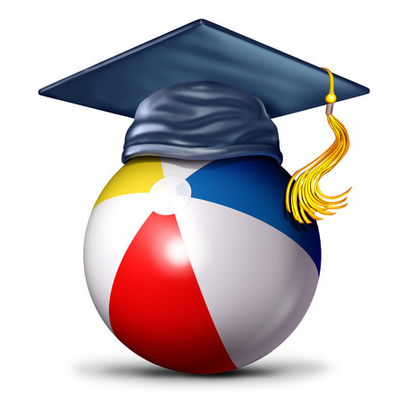 Summer school symbol as a beach ball with a mortar cap as a an education and learning during summertime icon as a 3D illustration.