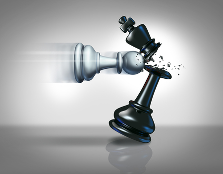 Startup business strategy concept as a chess pawn smashing a king piece as a metaphor for success and action plan to win as a3D illustration. Stock Photo