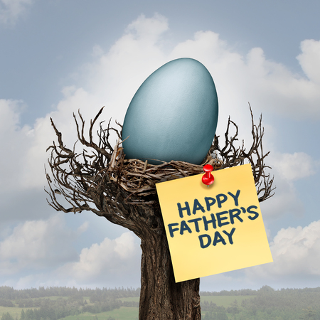 happy holidays: Happy father day and daddy or fatherhood celebration concept as a nest with an egg as a parenting symbol as a best dad message with 3D illustration elements. Stock Photo