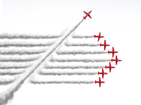 Disruptor und Game Changer Geschäft oder politische Veränderung Konzept und störende Innovation Symbol und ein unabhängiger Denker mit neuen Ideen als ein einzelnes Jet brechen durch eine Gruppe von Flugzeug Rauch als 3D-Darstellung auf weiß.