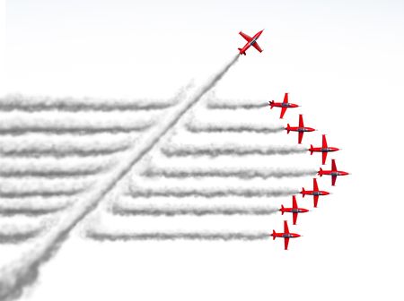 Disruptor and game changer business or political change concept and disruptive innovation symbol and be an independent thinker with new ideas as an individual jet breaking through a group of airplane smoke as a 3D illustration on white.