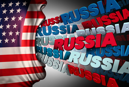 American media Russia obsession as a person with a flag of the USA communicating the Russian national name as a political symbol for obsessed news reporting on current affairs between the white house and Moscow with 3D illustration elements. Stock Photo