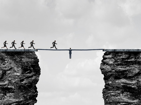 altruism: Leadership bridge business success concept as a leader businessman with stretched arms creating a path and helping hand to succeed as a financial team metaphor or strong support for employees with 3D illustration elements. Stock Photo