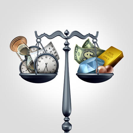scale: Time and money as a business concept as a scale with clocks calendar and hourglass objects versus wealth symbols as diamonds currency pearls and gold as a 3D illustration.