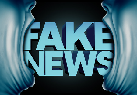 Fake news reporting concept and hoax journalistic reports from anonymous sources as people with open mouths with text as false media reporters metaphor and deceptive disinformation with 3D illustration elements. Stock Photo